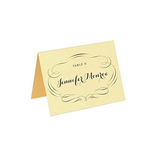 gold place cards custom printed set of 8 - Printed Place Cards