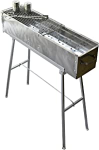 "Party Griller Yakitori Grill 32"" x 8″ w/Double Mesh Grill Grate – Portable Stainless Steel Charcoal BBQ Grill"