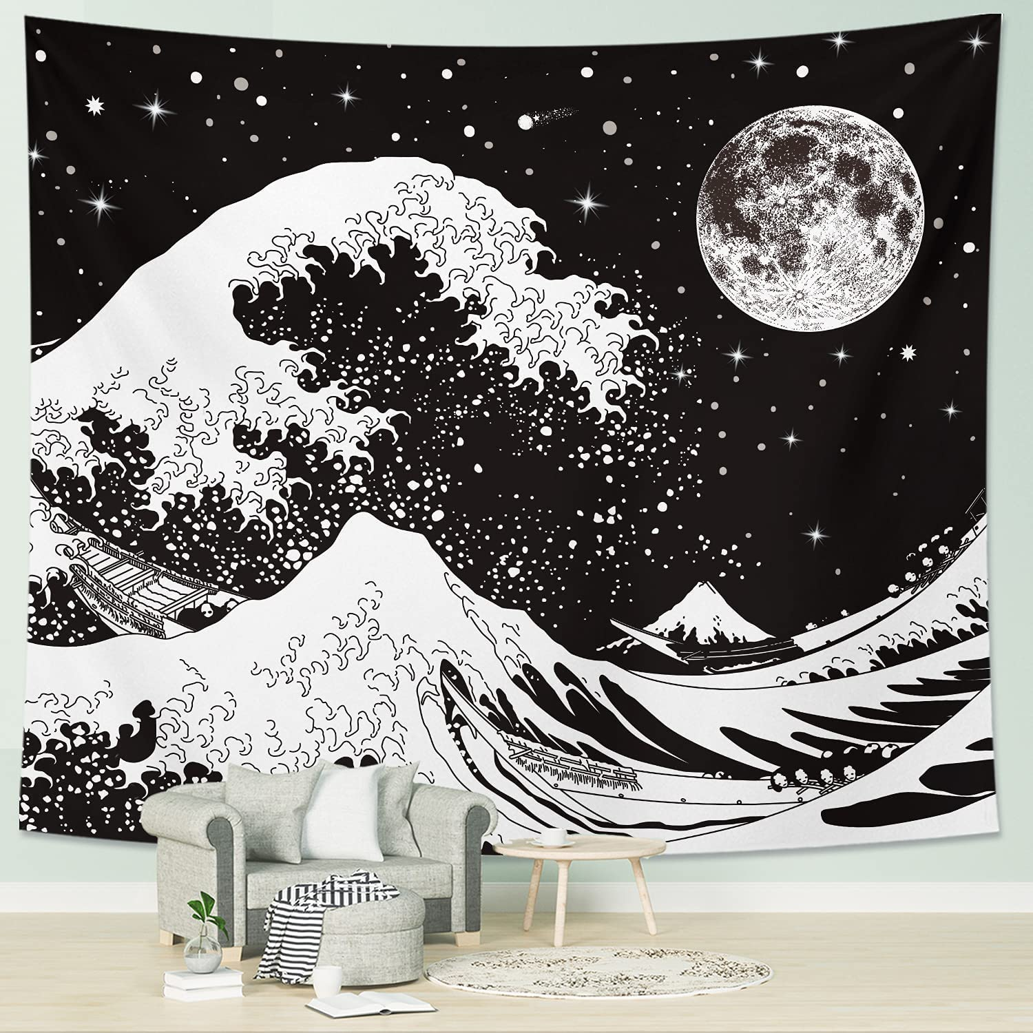 DESIHOM Black and White Tapestry Cool Japanese Tapestry Moon Tapestry for Men Star Space Tapestry Aesthetic Kanagawa Great Wave Tapestry for Bedroom Living Room Dorm Home Decor 59x51 Inch