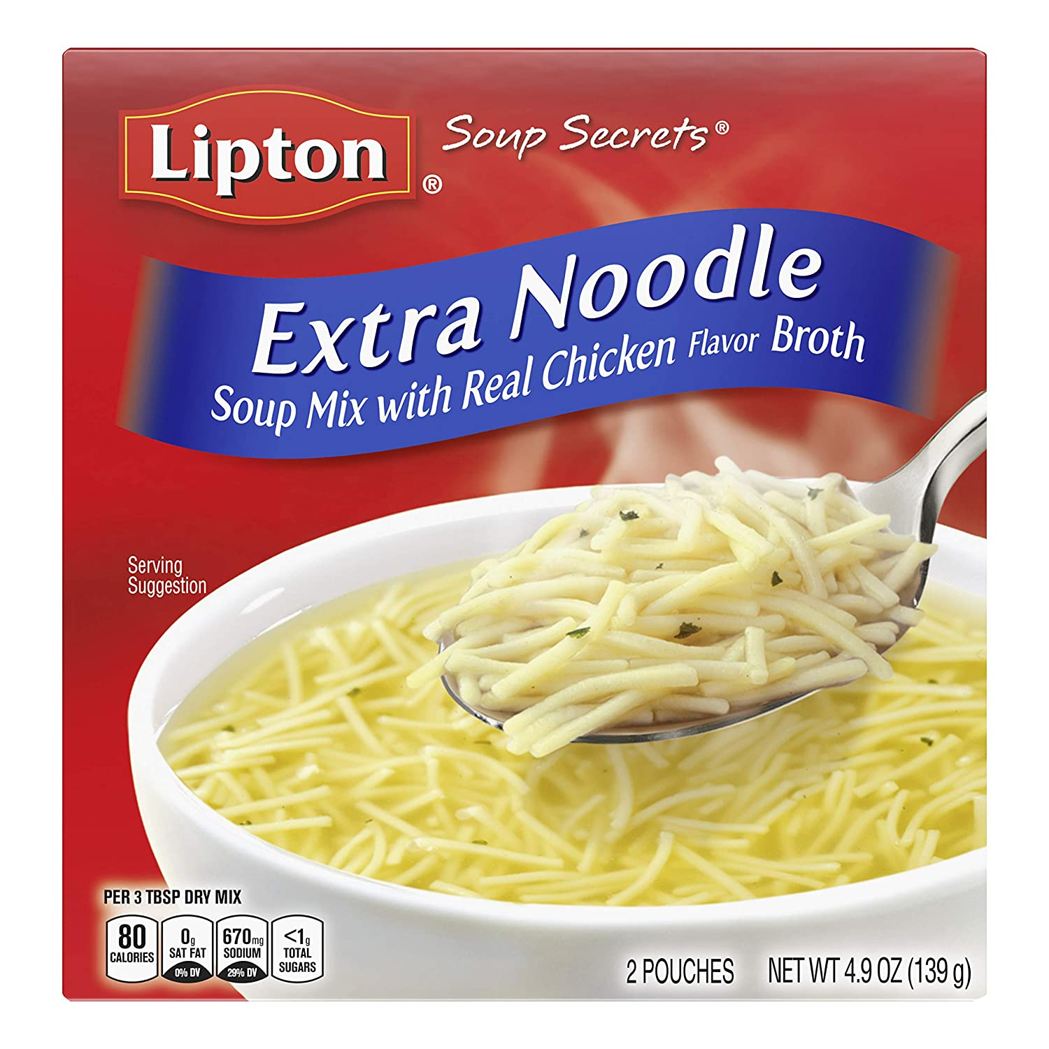 Lipton Soup Secrets Instant Soup Mix For a Warm Bowl of Soup Extra Noodle Soup Made With Real Chicken Broth Flavor 4.9 Oz (Pack of 12)