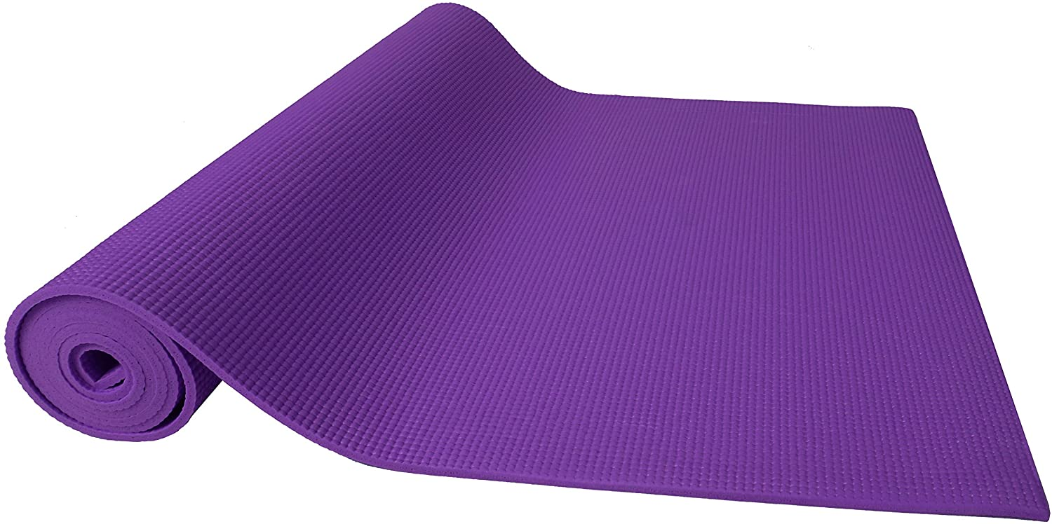 """BalanceFrom Go Yoga All Purpose High Density Non-Slip Exercise Yoga Mat with Carrying Strap, 1/4"""", Purple : Sports & Outdoors"""