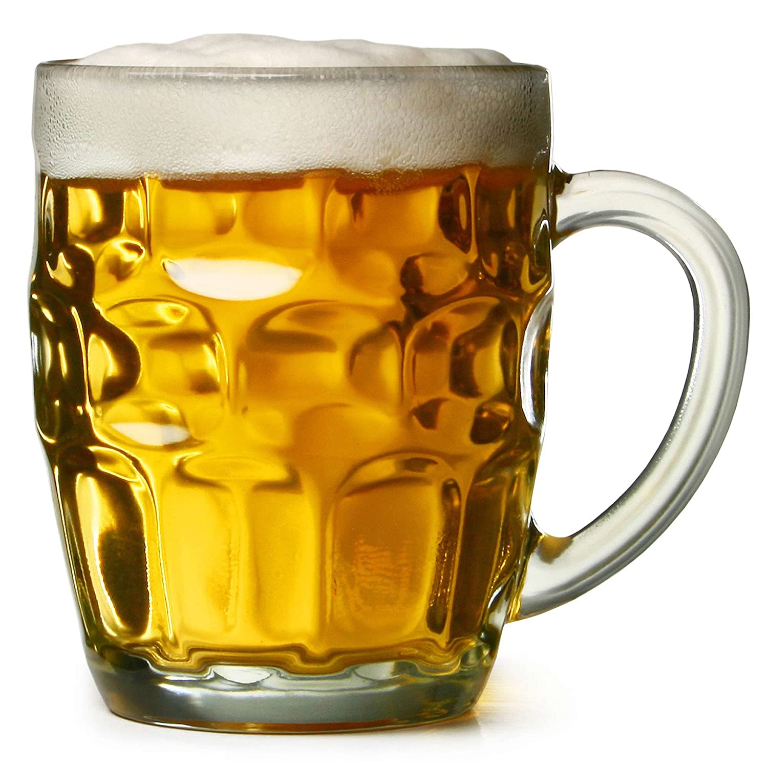 bar@drinkstuff The Great British Pint Dimple Mug - Set of 4 - Gift Boxed Glass Tankards, Great as a Beer Gift