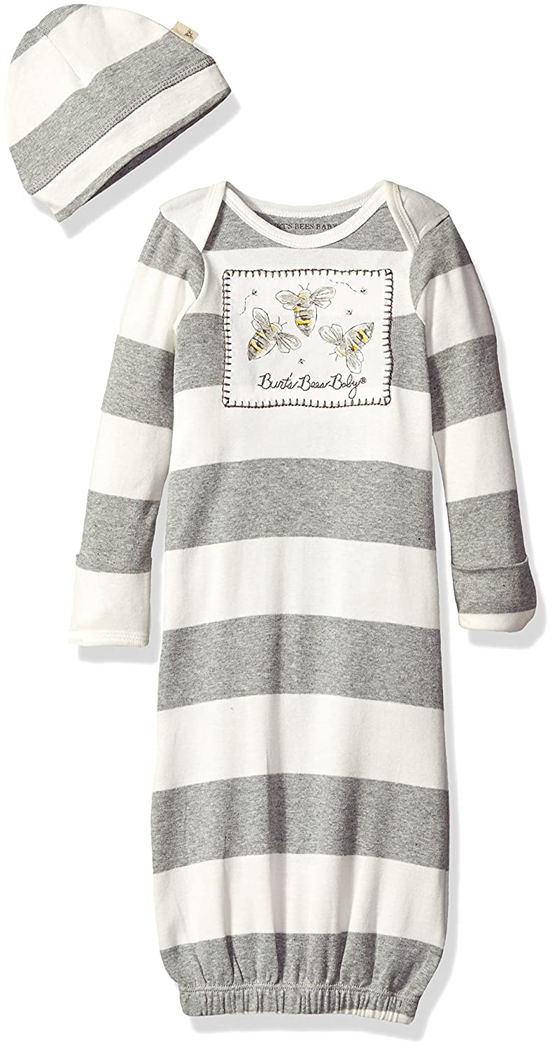 Burt's Bees Baby Baby Boys' Rugby Stripe Organic Cap + Gown Set, Heather Grey Bee Patch, One Size LY24025