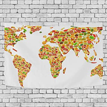 Jstel world map fruits and vegetables tapestry wall hanging jstel world map fruits and vegetables tapestry wall hanging decoration for apartment home decor living room gumiabroncs Images