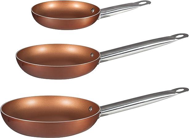 Bergner Europe Gmbh 2454140031 Set de 3 Sartenes de Aluminio Prensado Bergner Copper Plus 18, 22 y 26 cm, Cobre: Amazon.es: Hogar
