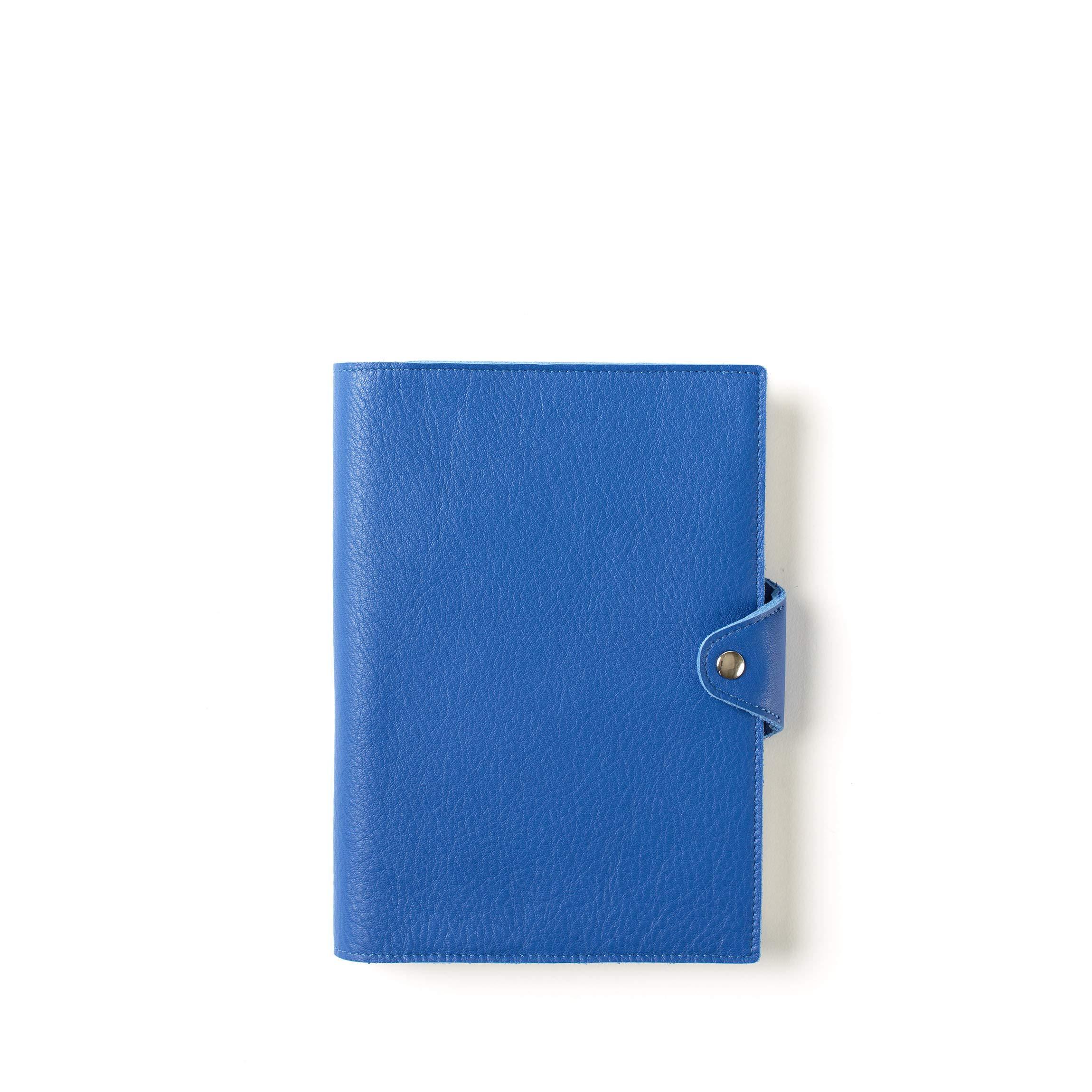 Medium Snap Journal with Pen Loop - Full Grain Leather - Cobalt (blue)