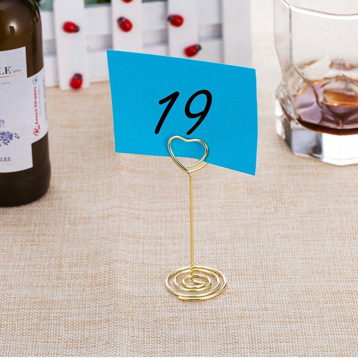 TOYANDONA 12 ST/ÜCKE Hochzeit tischhalter Herzform platzkartenhalter draht Tabelle kartenhalter f/ür hochzeitsbevorzugungen Gold