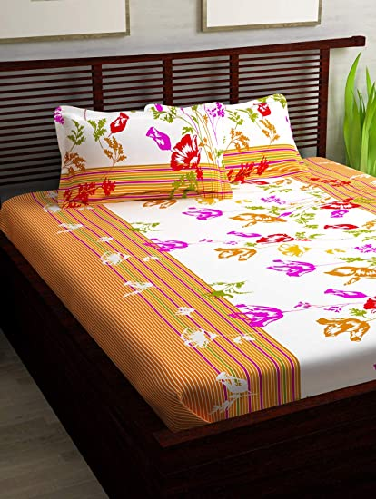 Nice Story@Home 100% Cotton Bed Sheet For Double Bed With 2 Pillow Covers Set