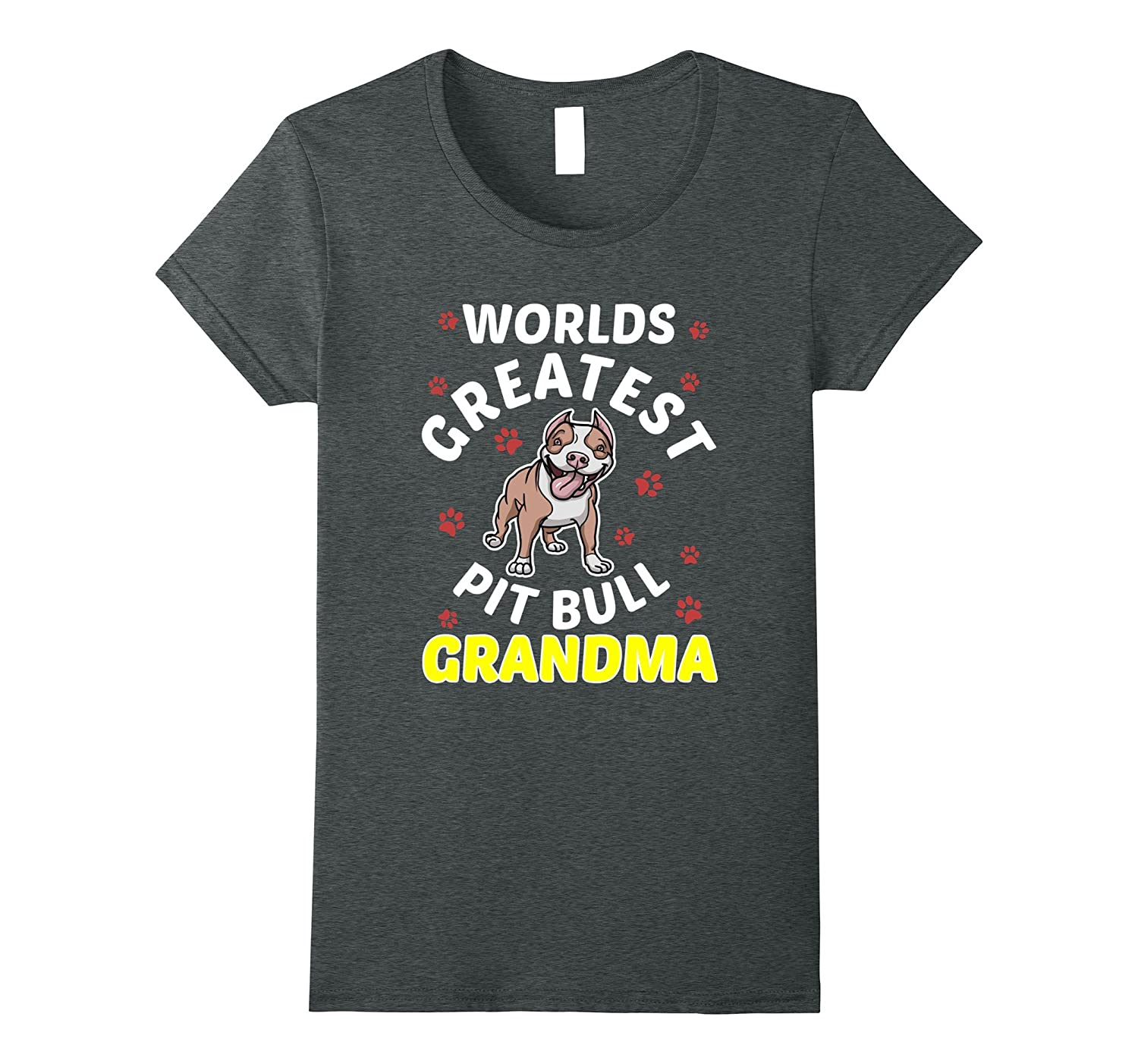 Funny Worlds Greatest Pitbull Grandma T-shirt Dog Lover Pink