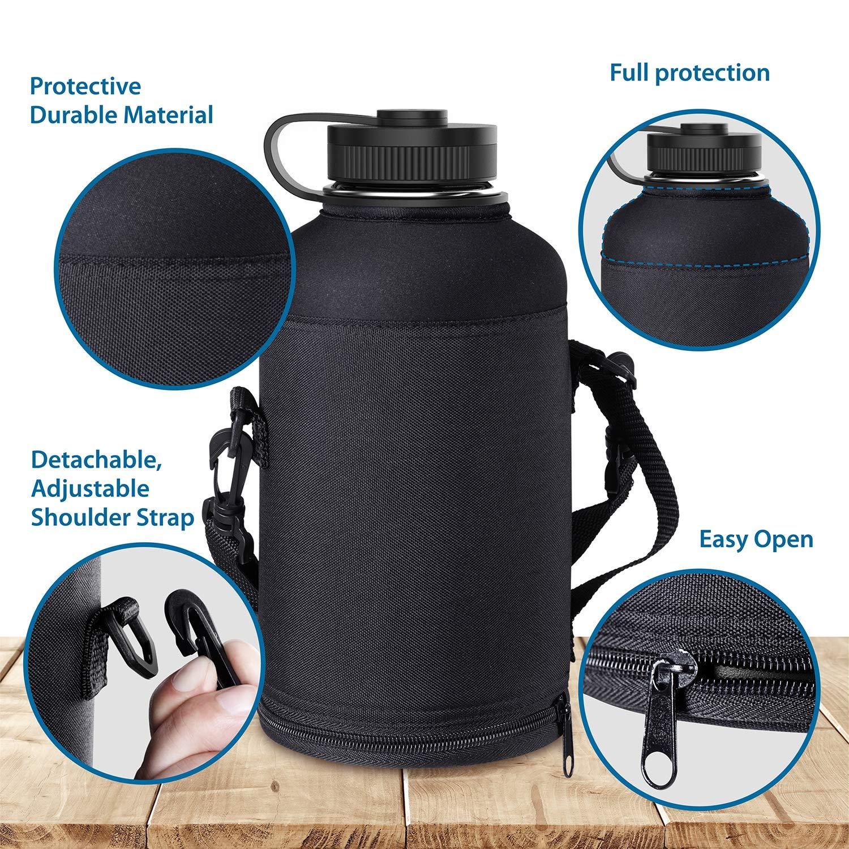 Camping Wandern BUZIO Double Wall isolierte Edelstahl Wasserflasche 1000 ml Flasche mit BPA-freie Flex Cap und Stroh Deckel f/ür Outdoor-Sport