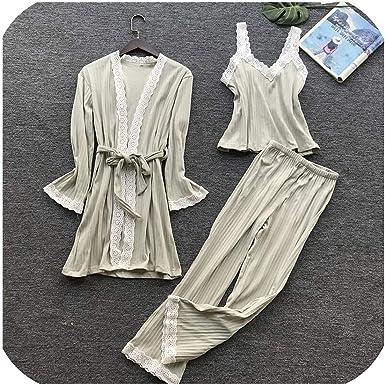 Pijamas de algodón para Mujer, Invierno, otoño, Ropa de Dormir, Albornoz, Pantalones de baño, 3 Piezas, Juegos de Pijamas de Manga Larga para el hogar: Amazon.es: Ropa y accesorios