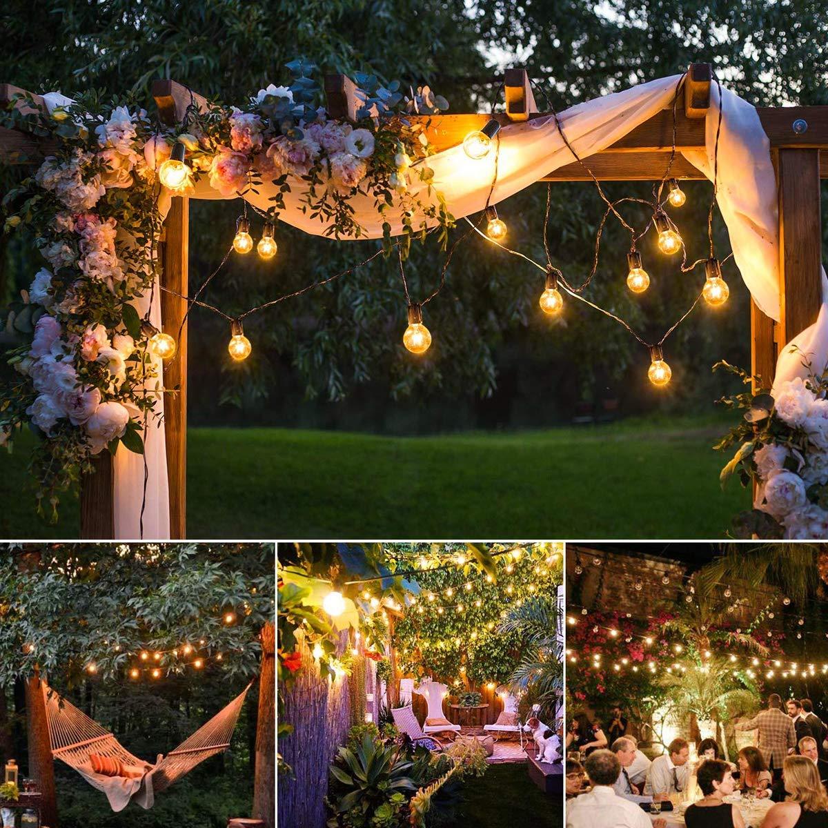 50Bulbs + 4 Spare Bulbs GEEDIAR Outdoor String Lights,50ft G40 Garden Lights Mains Powered Party Lights,Waterproof Outdoor Indoor String Lights for Terrace Patio Xmas Wedding Party Decoration