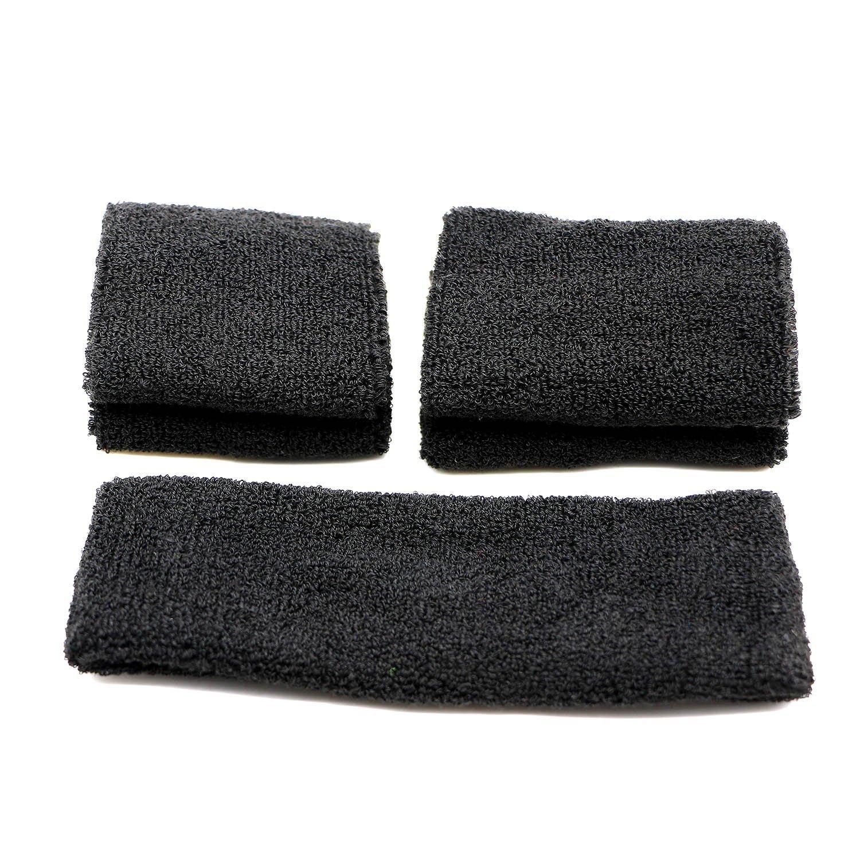 pasow Sweatband Diadema–Juego de 1y 2pares pulseras (Talla S y M) para deportes de algodón y actividades al aire libre Negro negro Pasow Tech