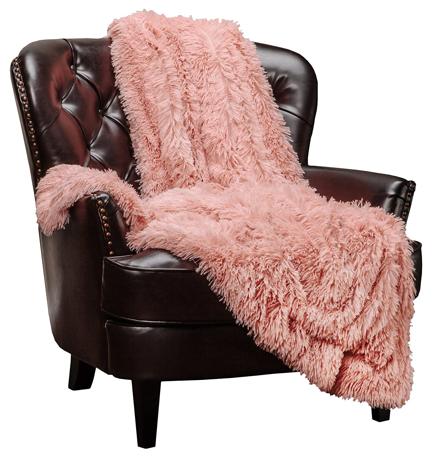 "Chanasya Super Soft Shaggy Longfur Throw Blanket | Snuggly Fuzzy Faux Fur Lightweight Warm Elegant Cozy Plush Sherpa Microfiber Blanket | for Couch Bed Chair Photo Props - 50""x 65"" - Peach"