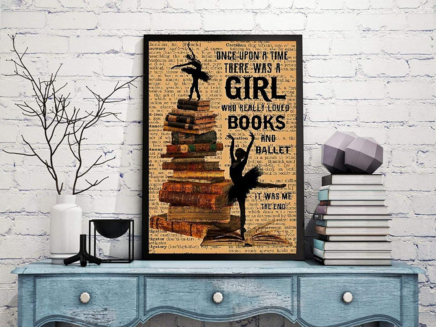Retro Posters 80s Once Upon A Time There Was A Girl Who Really Loved Books Wall Decor 12x18 inch No Frame