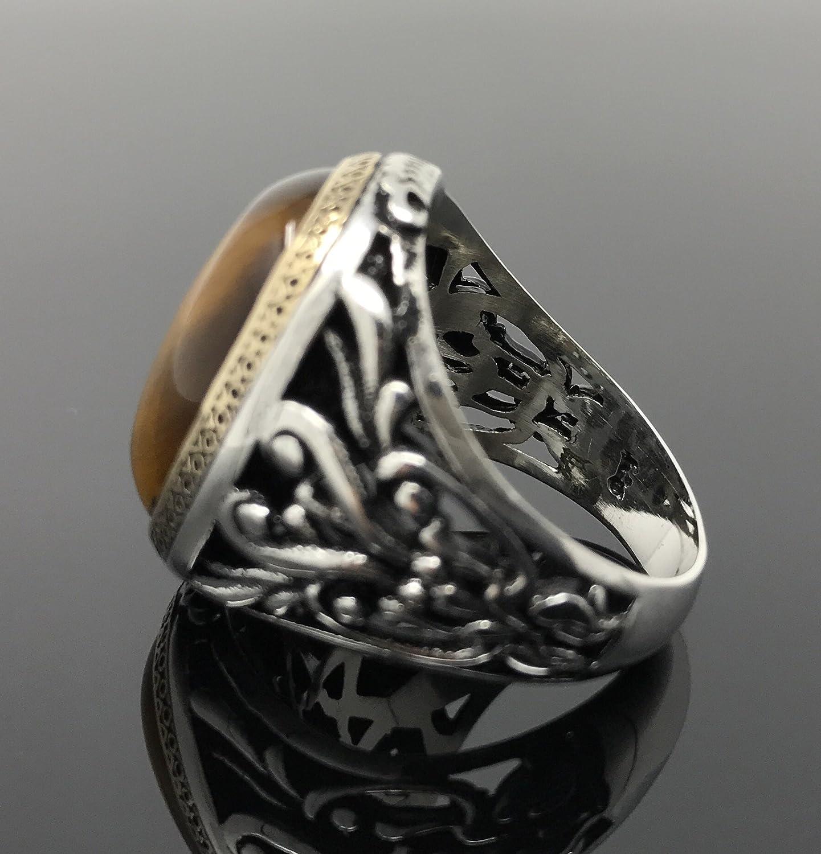 KAR 925K Stamped Sterling Silver Filigree Tigers Eye Mens Ring I1H