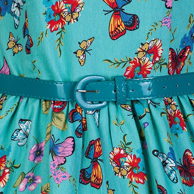f53699e488aa7 Lindy Bop 'Daria' 1950's Turquoise Butterfly Summer Meadows Swing Dress (26,  Turquoise): Amazon.co.uk: Clothing