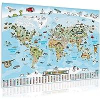 Goods & Gadgets Panorama Weltkarte für Kinder XXL - 140x100cm Kinder-Weltkarte komplett handgezeichnet und koloriert