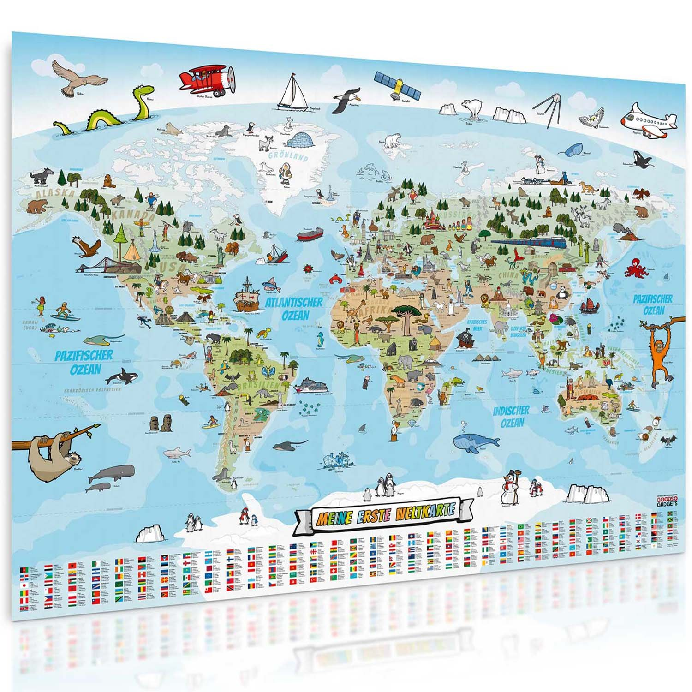Goods & Gadgets - Mappa panoramica del mondo formato XXL (140 x 100 cm), per bambini, completamente disegnata e colorata a mano