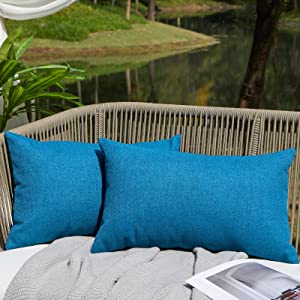 WAYIMPRESS Outdoor Pillows for Patio Furniture Waterproof Pillow Covers Square Garden Cushion Farmhouse Linen Throw Pillow Covers Shell for Patio Tent Couch (12 x 20,Blue)