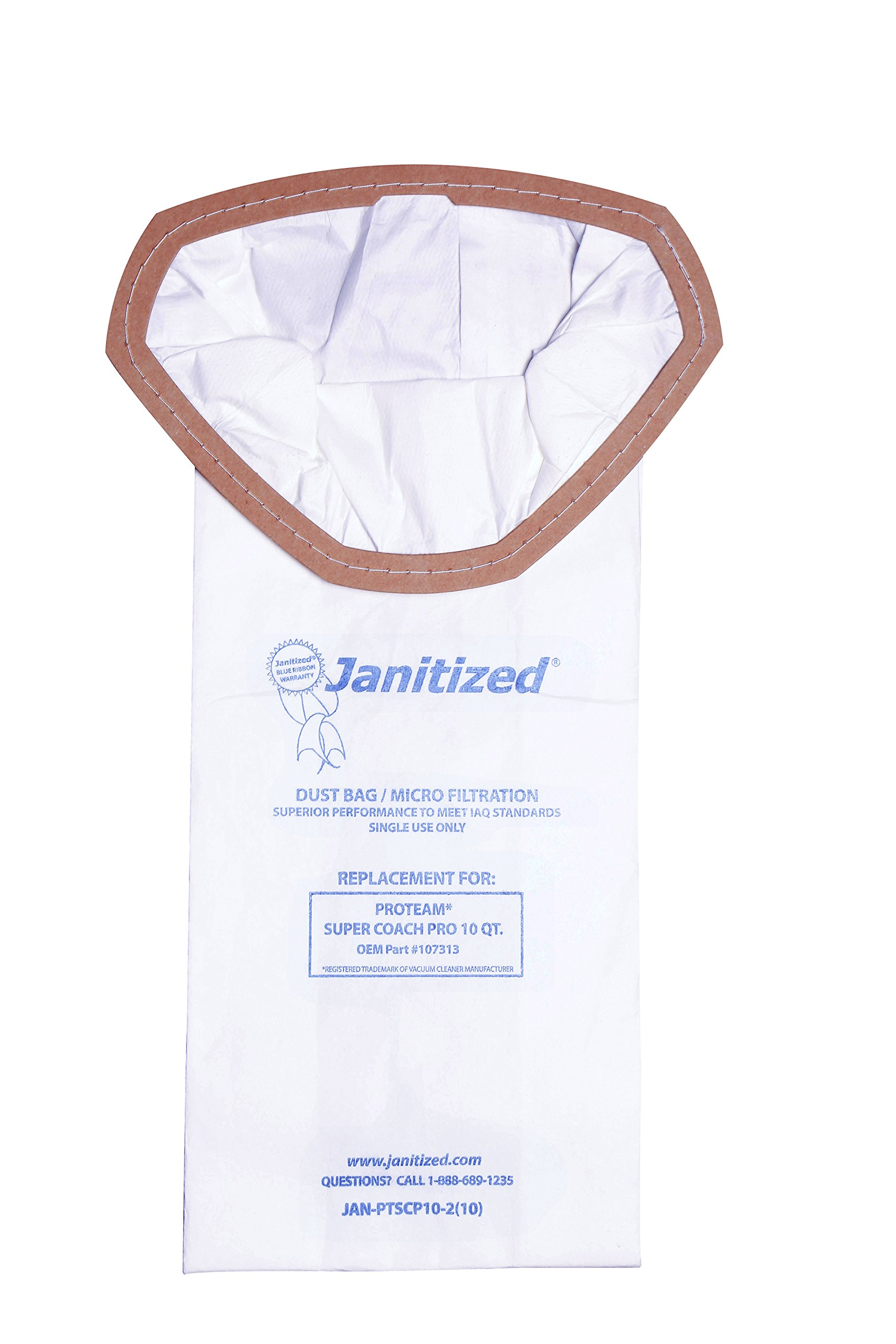 Janitized JAN-PTSCP10-2(10) Premium Replacement Commercial Vacuum Bag For ProTeam Super Coach Pro 10 qt Vacuum Cleaners, OEM#107313 (10 - 10 packs) by Janitized