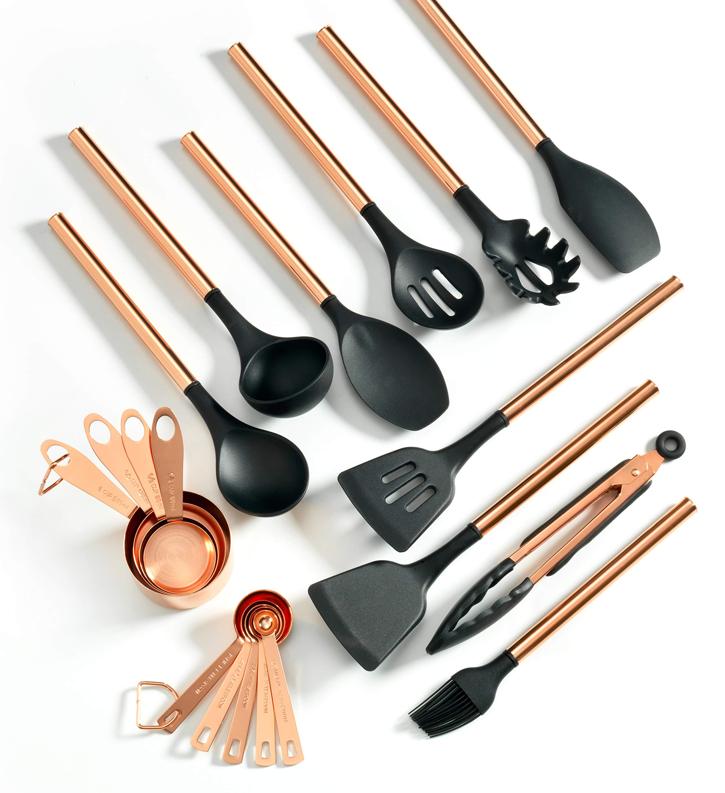 West Minster Copper Plated Stainless Steel Kitchen Utensil Set | 19 Kitchen Gadgets | Silicone Spatula | Measuring Cups | 19 Cooking Utensils | Premium Kitchen Tool Set by West Minster