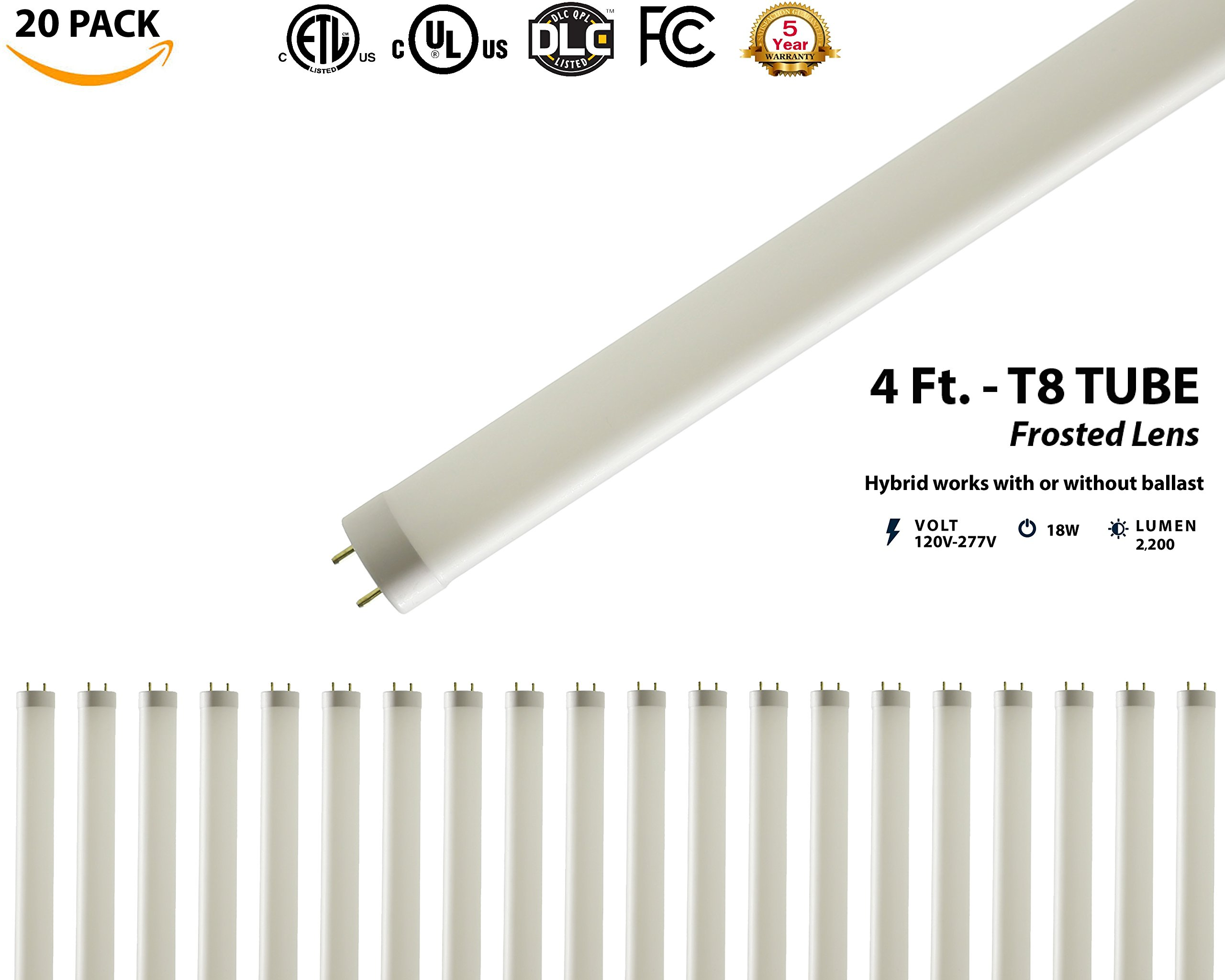 T8, T10, T12, 4FT LED Glass Tube Light (20 Pack) 18W; 2,200 Lumens; Cool-White 4000K; AC120-277V; Works with existing ballast or bypass ballast either one-end direct or two-end direct; UL & DLC