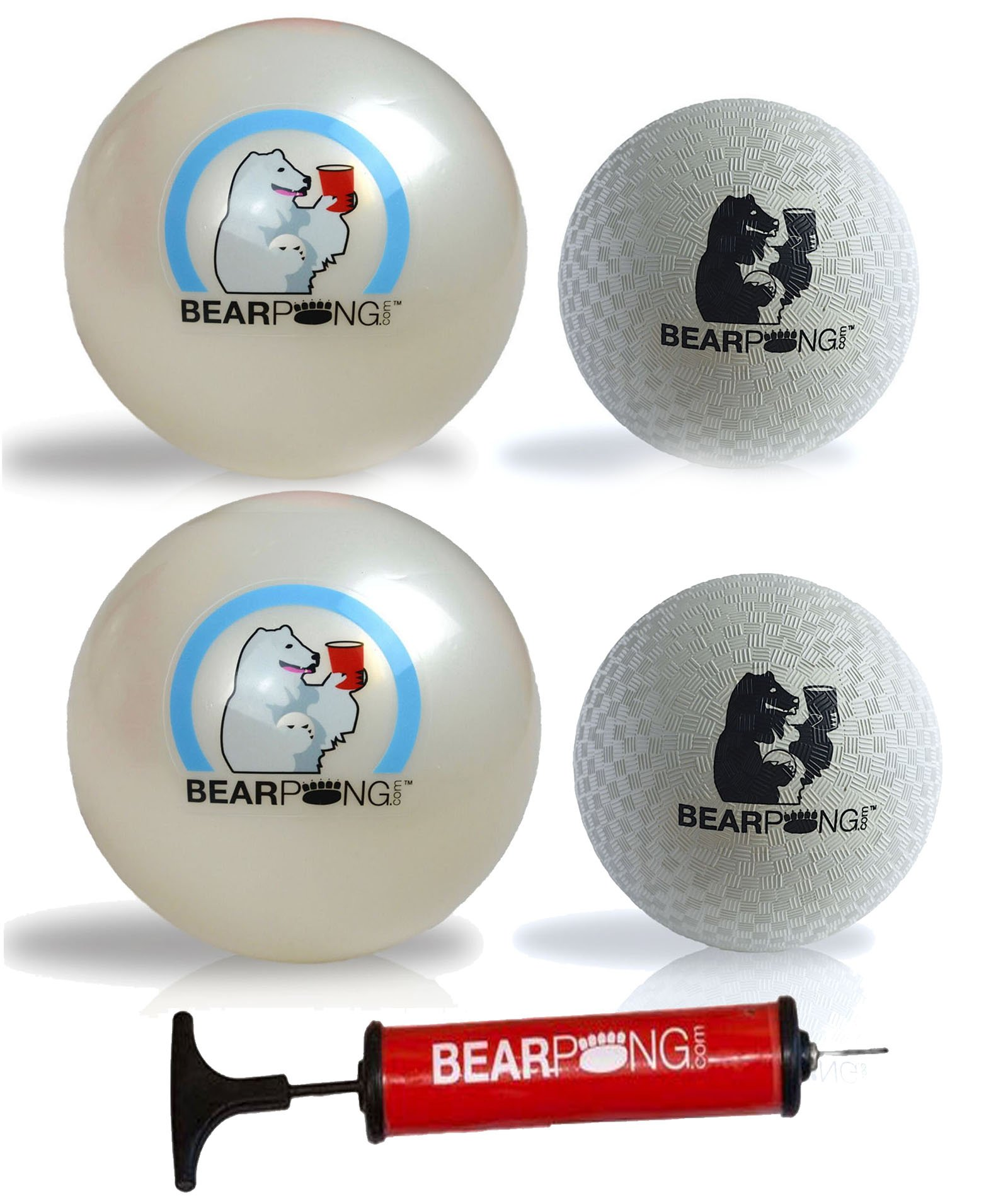 Bearpong Set of 4 Rubber Balls: 2 - 6'' Beach, 2 - 4'' Wind Balls with Pump by Bear Pong