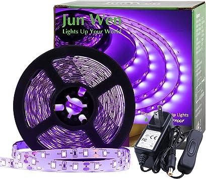 JUNWEN Blacklight Strip Lights 16.4FT 300LEDs LED Strip Black Lights, Purple Tape Lights, 12V Flexible Blacklight Fixtures for Stage, Fluorescent Glow Party, Bar, Indoor Dance,Gallery
