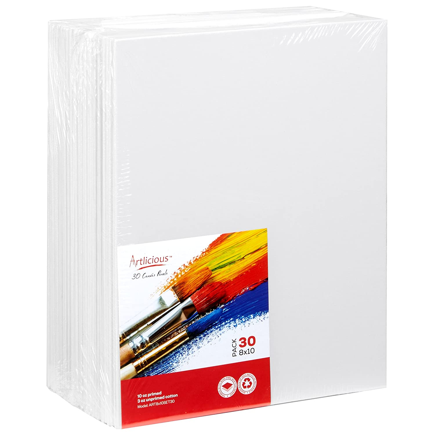 Artlicious - 30 Classroom Value Pack - 8x10 Primed Canvas Panel Boards