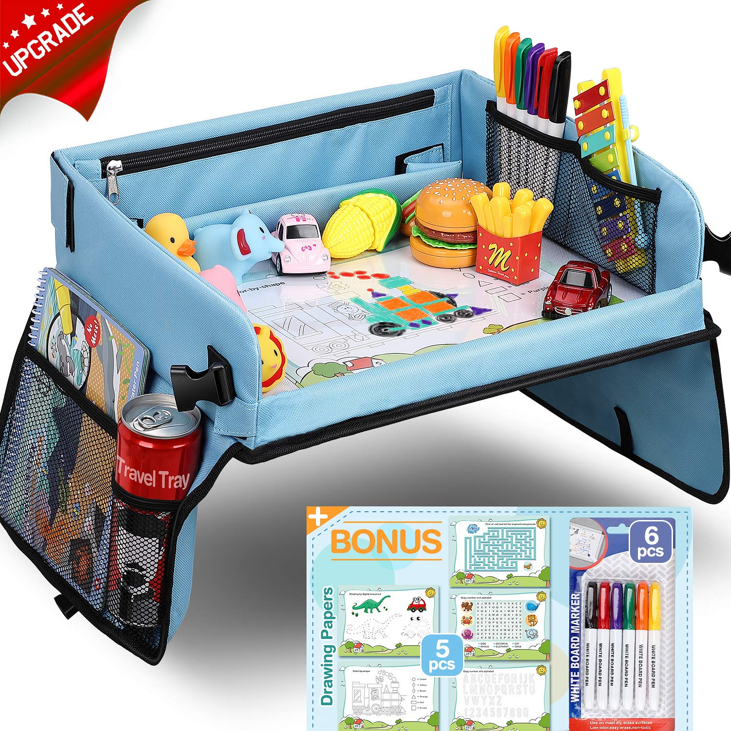 Upgraded Kids Travel Tray with Dry Erase Top Car Seat Travel Tray with 16 Organizer Pockets for Car Stroller Plane Bonus 5 Educational Drawing by tomser