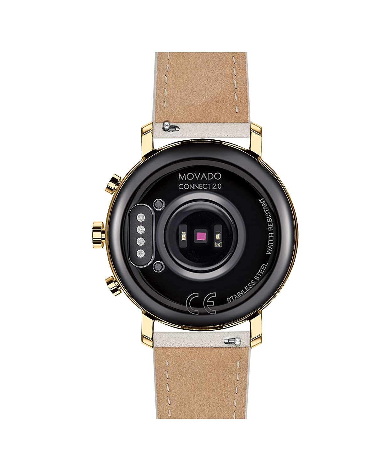 Movado Connect 2.0 Unisex Powered with Wear OS by Google Stainless Steel and Light Grey Leather Smartwatch, Color: Grey (Model: 3660024)