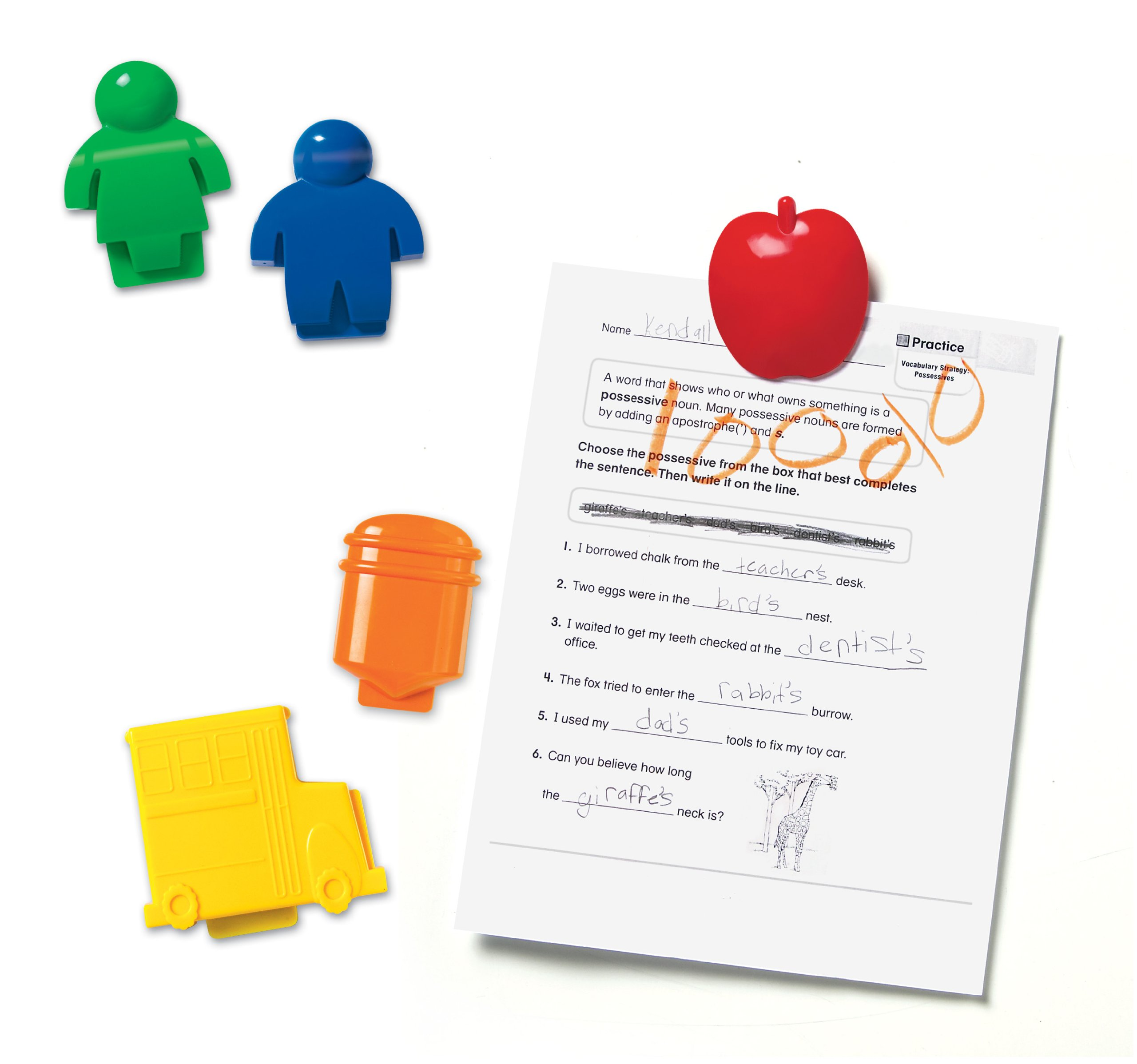 Learning Resources School-Themed Magnetic Clips, Set of 5