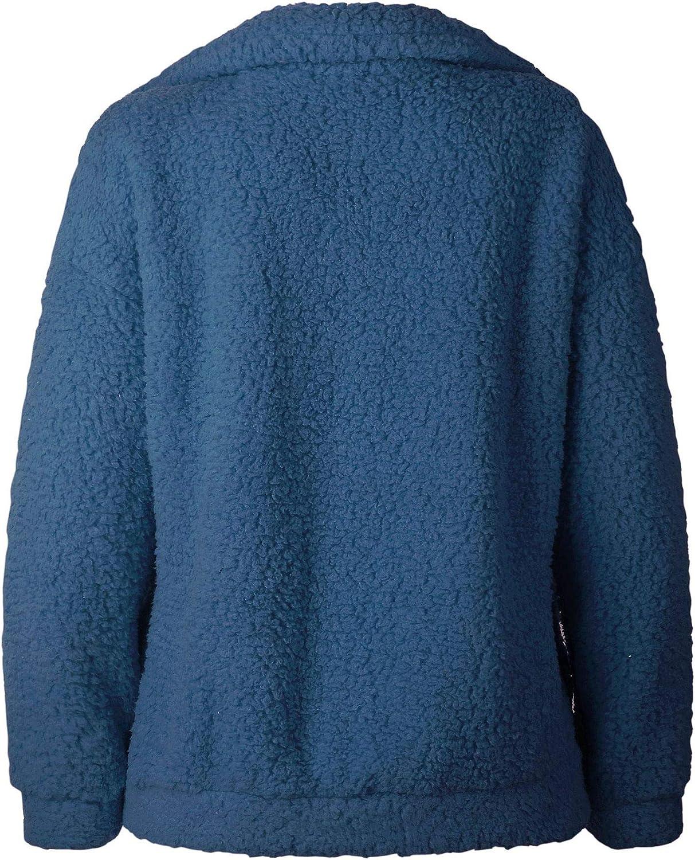 Famulily Womens Faux Shearling Coat Oversized Fleece Lapel Zipper Jacket Outwear with Pockets