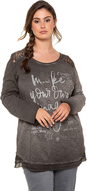 Ulla Popken Damen Shirt mit Pailletten und Steinchen A-line Langarmshirt