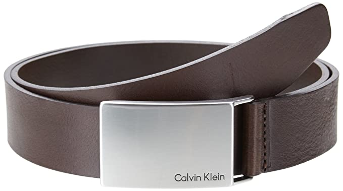 9e4c7f0f90c Calvin Klein Mino Plaque Belt W100 Dark Brown  Amazon.co.uk  Clothing