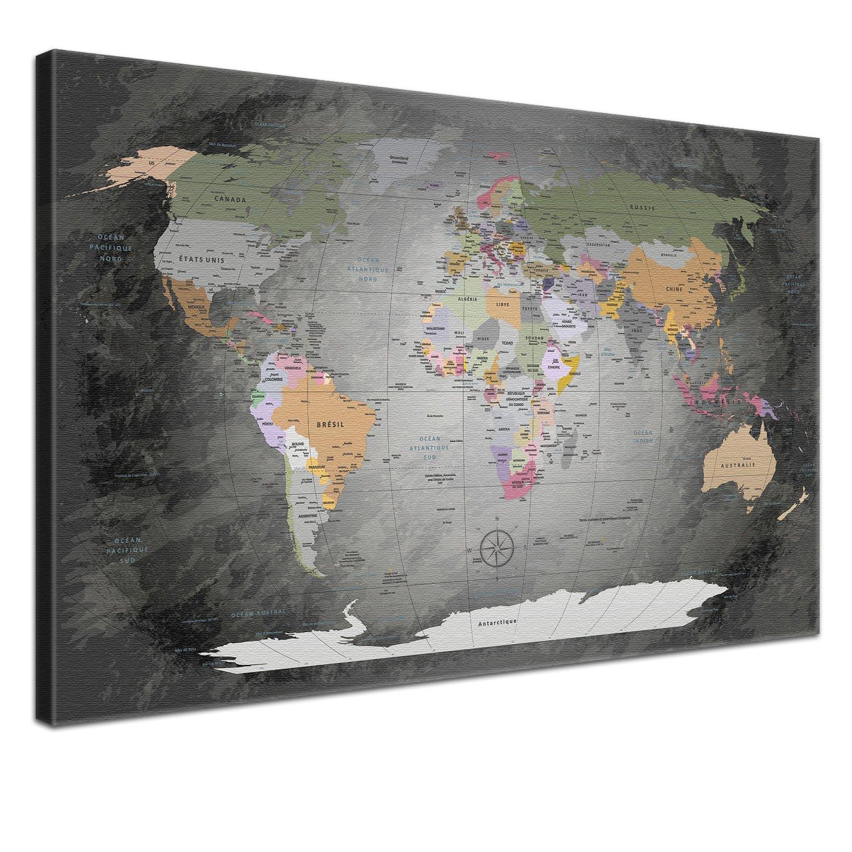 """LANA KK - Weltkarte Leinwandbild mit Korkrückwand zum pinnen der Reiseziele – """"Worldmap Edelgrau"""" - französisch - Kunstdruck-Pinnwand Globus in grau, einteilig & fertig gerahmt in 120x80cm"""