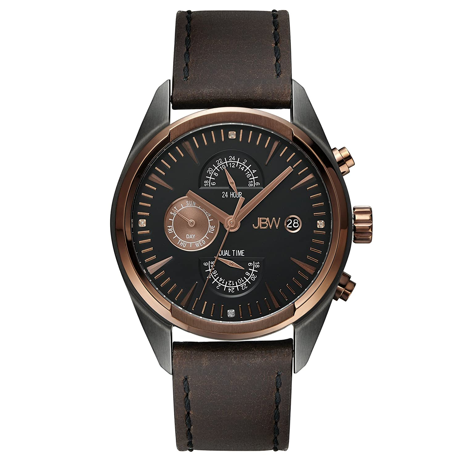 Amazon.com: JBW Luxury Mens Woodall Diamond Wrist Watch with Leather Bracelet: Watches