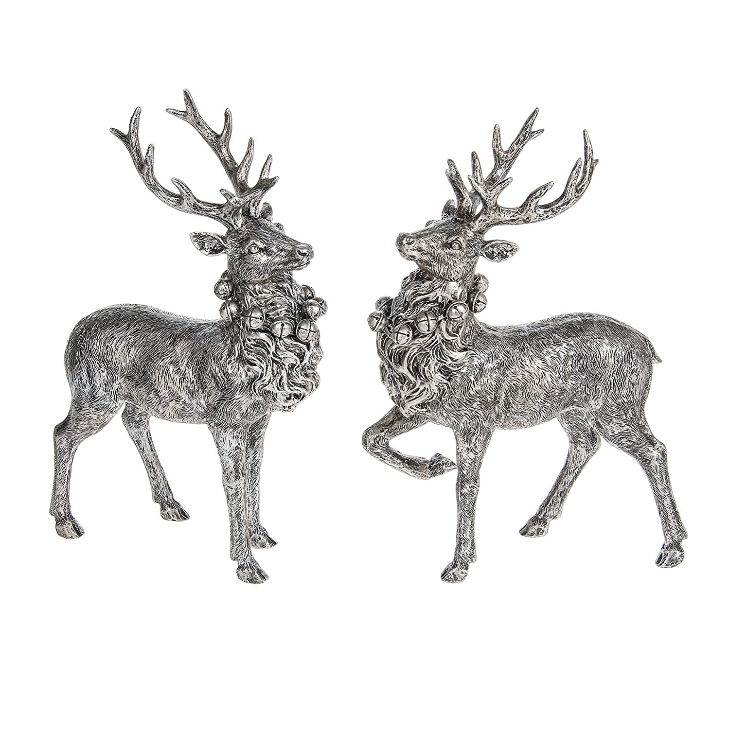 Antique Silvertone Standing Christmas Stag Figurine Pair | ChristmasTablescapeDecor.com