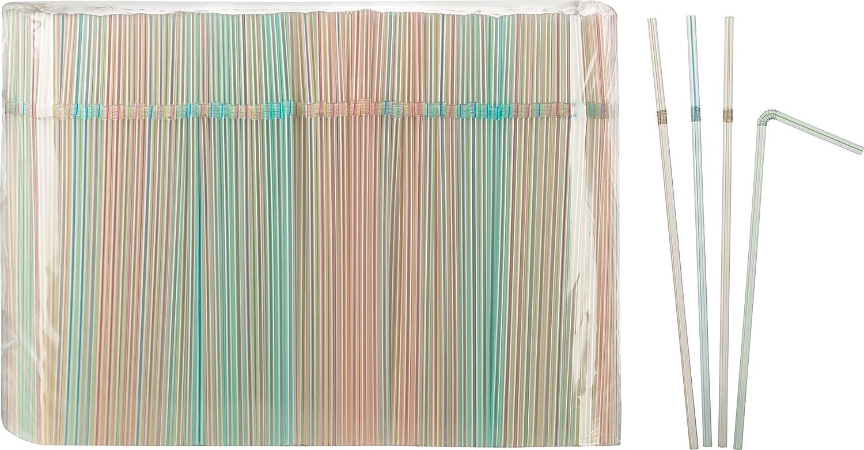 Trinkhalme Strohhalm 1000Stück 24 cm 5mm knickbar farbig gestreift