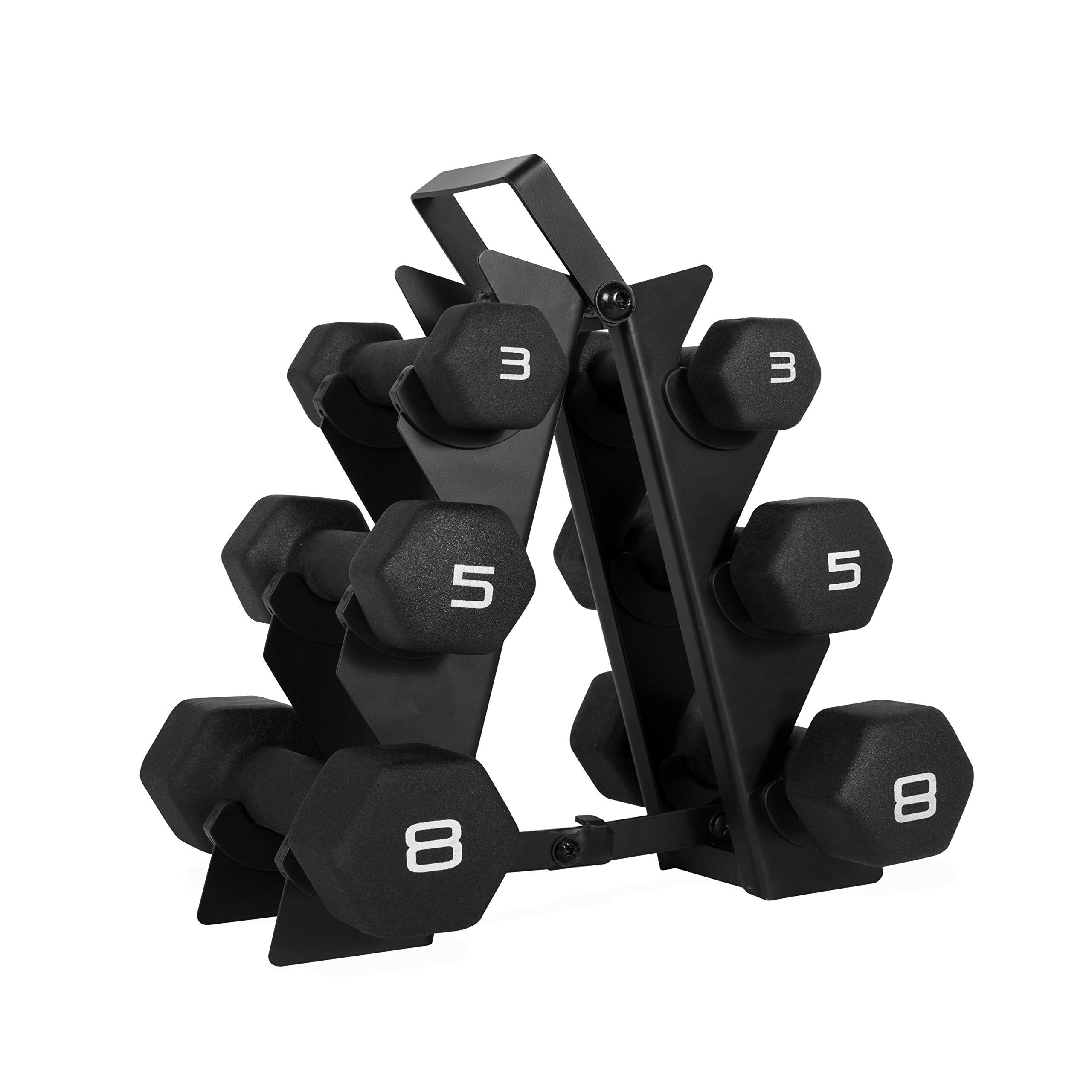WF Athletic Supply Dumbbell Set with Storage Rack (32lb Black Neoprene Dumbbell Set)