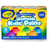 Crayola Washable Kids Paint, 6pk, Classic Colours, Children Art & Craft, Projects, Artist, Students, Creativity