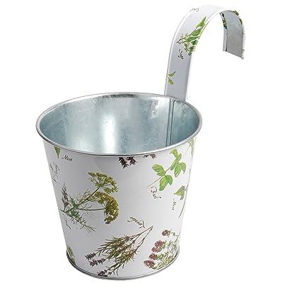 Esschert Design Herb Print Galvanized Steel Balcony Flower Pot with Hook: Garden & Outdoor