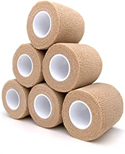"Cohesive Bandage 2"" x 5 Yards, 6 Rolls, Self Adherent Wrap Medical Tape, Adhesive Flexible Breathable First Aid Gauze Ideal for Stretch Athletic, Ankle Sprains & Swelling, Sports, Human, Animals, Tan"