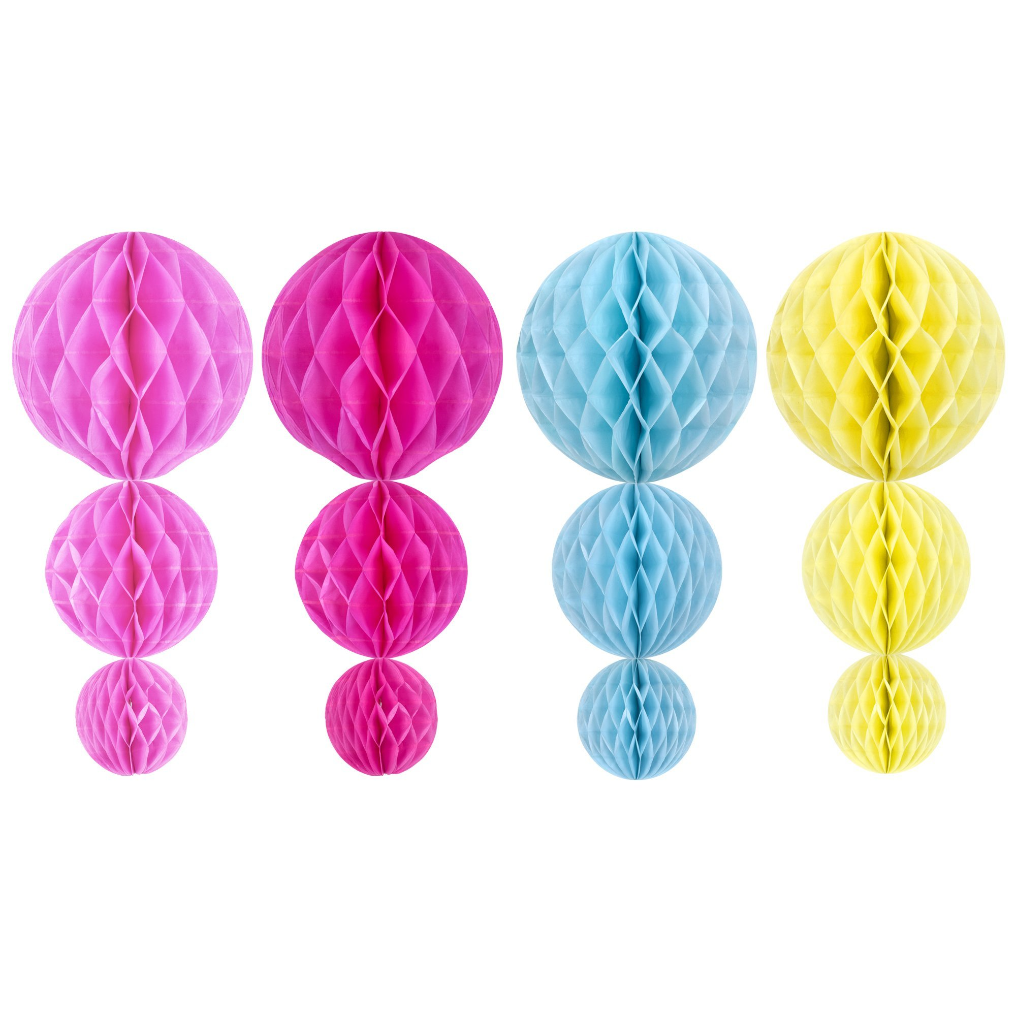Kloud City ® 4'', 6'' and 8'' 4Color Assorted Decorative Tissue Paper Honeycomb Balls, Tissue Paper Flower Ball Bee Pom Poms for Birthday Decoration, Wedding Decor, Party Decor by KLOUD City