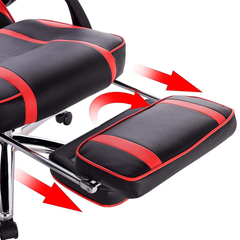 en Similicuir Blanc WOLTU BS25ws Chaise de Gamer Fauteuil de Bureau avec Repose-Pieds et Coussin Lombaire Chaise pour Gaming Ergonomique Hauteur r/églable