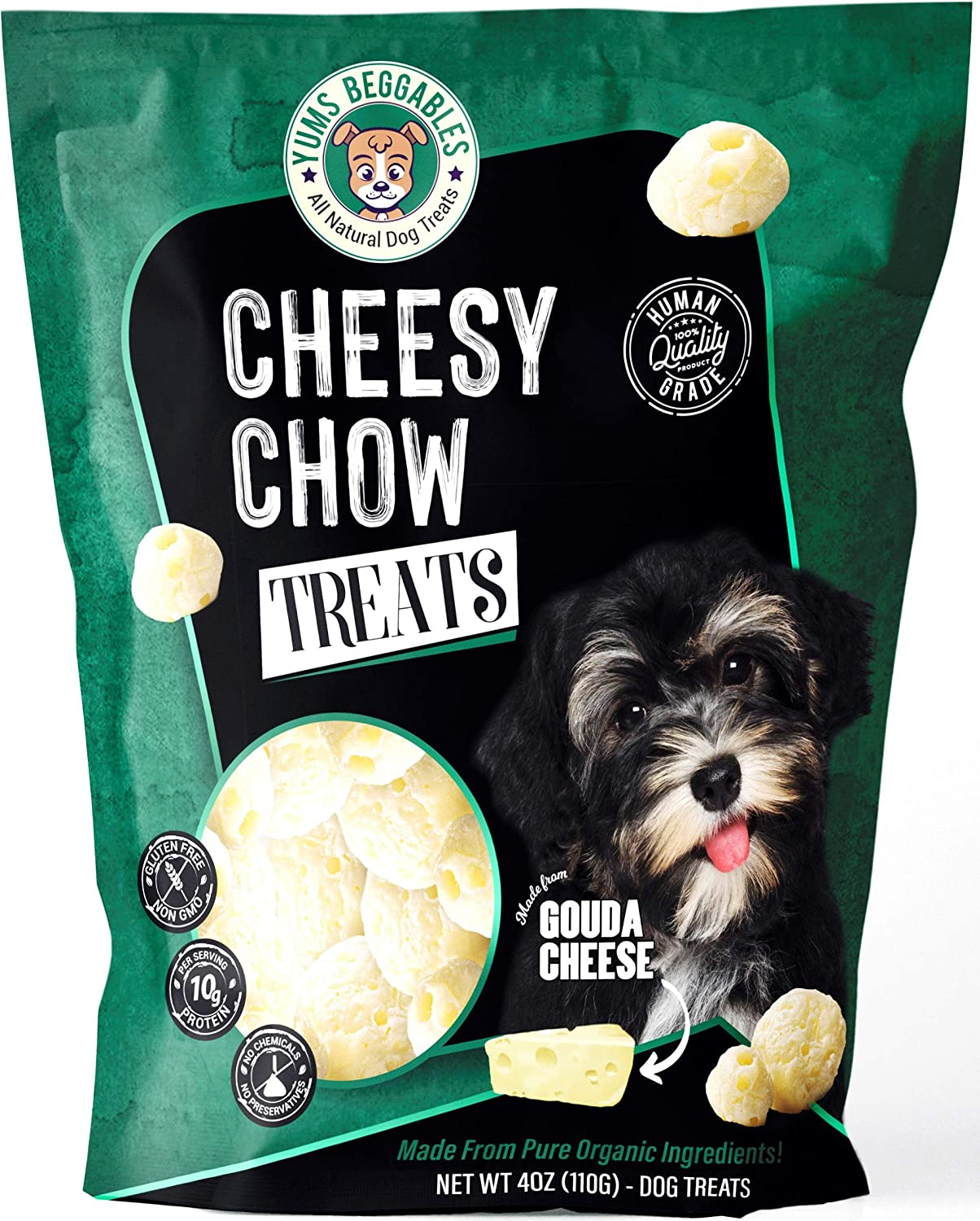 Cheesy Chow Freeze Dried Gouda Cheese Treats – Human Grade Dog Rewards – with 100% Pure Real Cheese – All Natural Ingredients – Ideal for All Breeds – Keto-Friendly, Gluten, and Preservatives Free