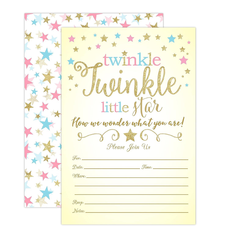 Amazon Twinkle Twinkle Little Star Gender Reveal Invitations