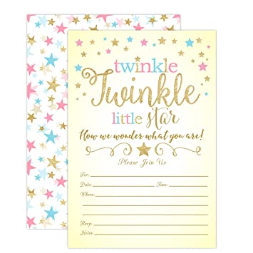 Amazoncom Twinkle Twinkle Little Star Gender Reveal Invitations