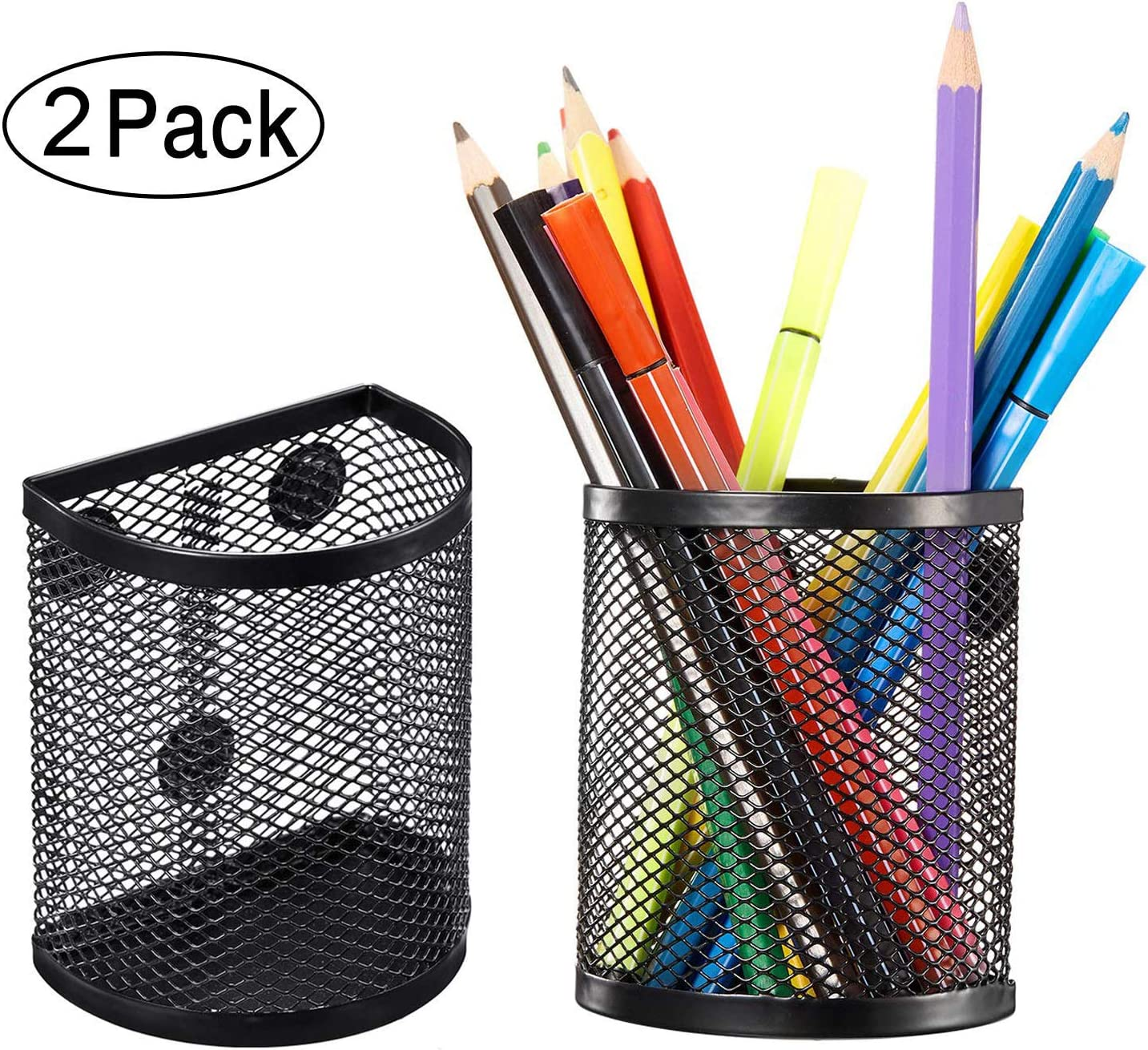 Magnetic Pencil Holder, Mesh Storage Baskets with Magnets to Hold Whiteboard, Locker Accessories, Black (2)